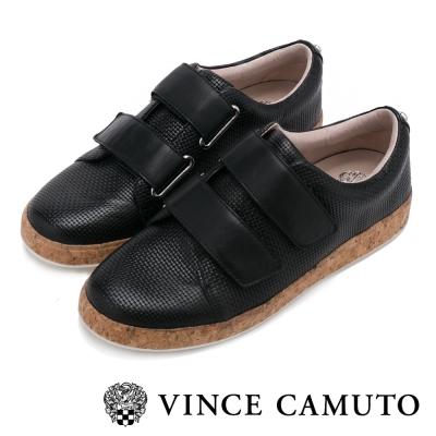 VINCE CAMUTO 輕盈時尚 雙帶金屬扣魔鬼氈平底鞋-黑色