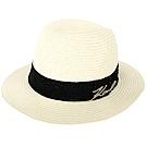 KARL LAGERFELD K/SIGNATURE 草編紳士帽(米色)