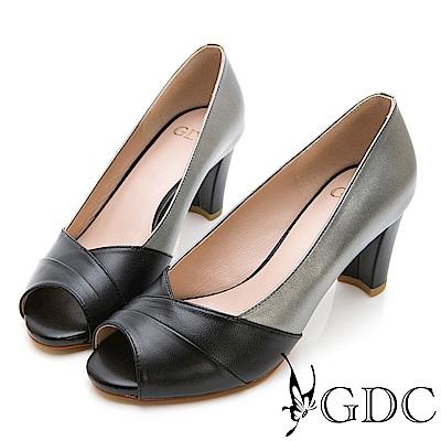 GDC-時尚銀色系交叉魚口跟鞋-黑色