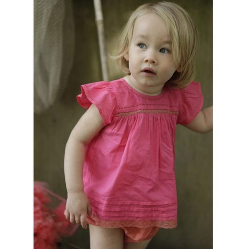 I Love Gorgeous 蝙蝠袖蕾絲上衣+包屁褲套裝-薔薇粉