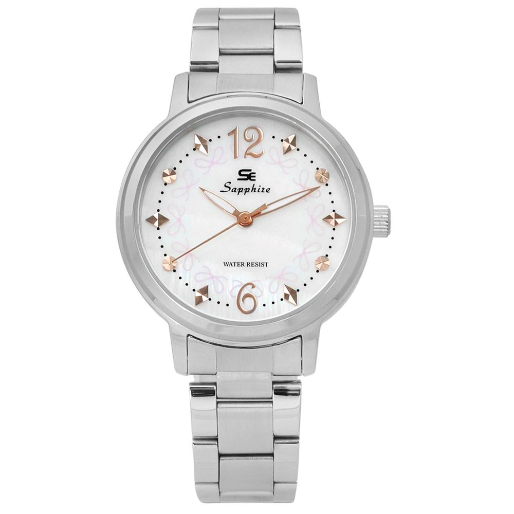 Sapphire  甜心蝴蝶結圈藍寶石水晶不鏽鋼手錶-白色/31mm