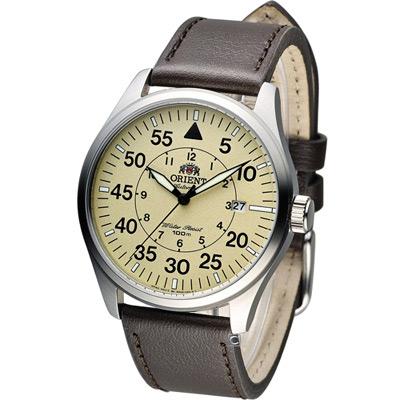 ORIENT 飛行風格時尚機械錶-米黃x咖啡/42mm