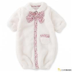 Nishiki 日本株式會社 白色碎花蝴蝶結毛毛長袖連身衣