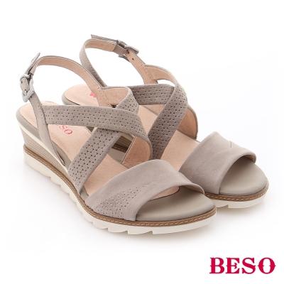 BESO-極簡風格-牛皮交叉寬楦涼鞋-米色