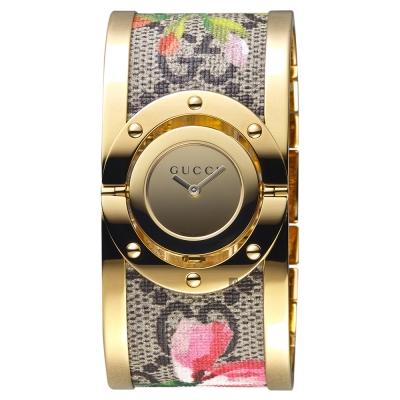 GUCCI 古馳 Twirl 花朵綻放手環錶~金 33mm