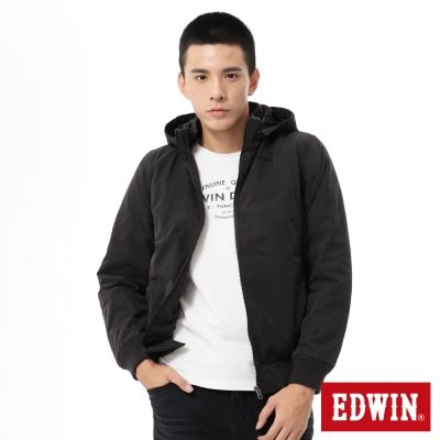 EDWIN 簡式帽可拆防寒外套-男-黑色