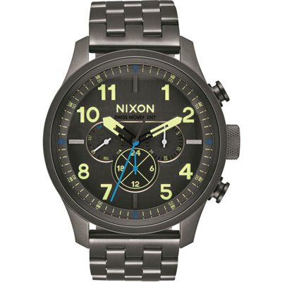 NIXON SAFARI DUAL TIME LEATHER 怒海潛龍時尚腕錶/47mm