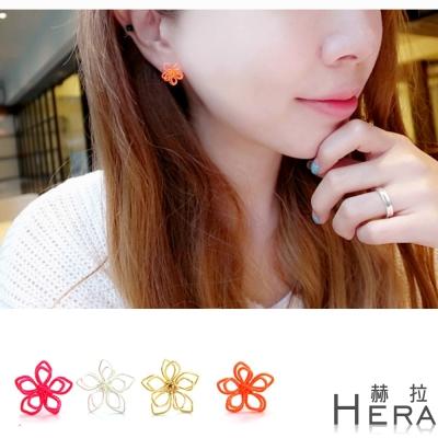 Hera 赫拉 線條編織雛菊無耳洞夾式耳環/4色
