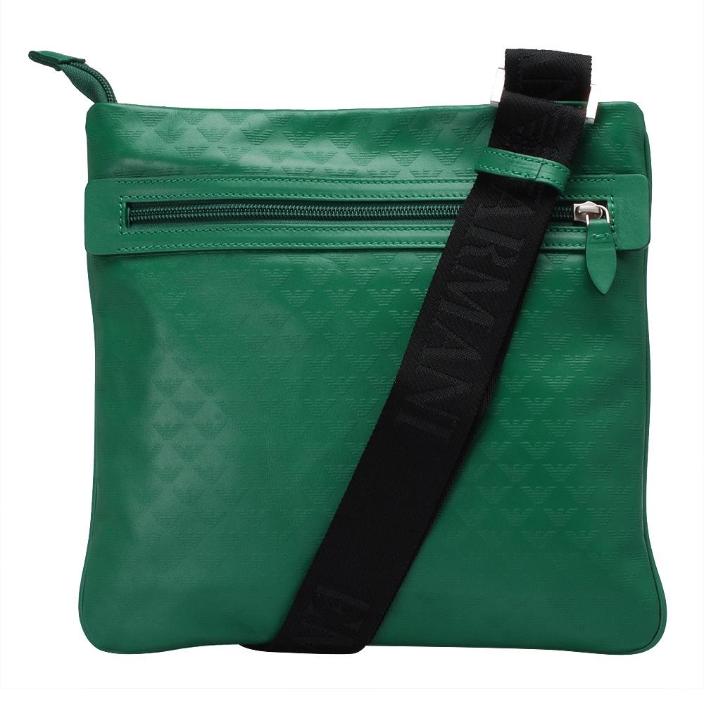EMPORIO ARMANI 滿版LOGO小牛皮方型斜背包(綠)