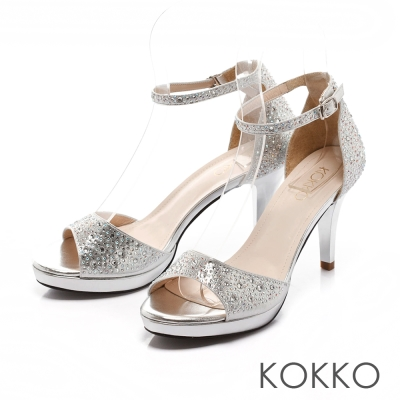 KOKKO經典手工-璀璨彩鑽魚口繫帶高跟涼鞋-銀