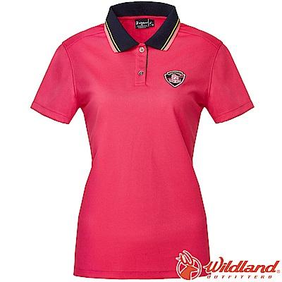 Wildland 荒野 0A61617-09桃紅色 女Coolmax排汗POLO衫