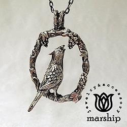 Marship 日本銀飾品牌 葡萄與鸚鵡項鍊 925純銀 古董銀款