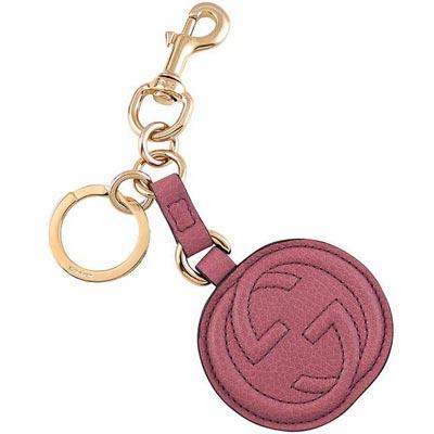 GUCCI-雙G圓形真皮鑰匙圈-紫羅蘭色
