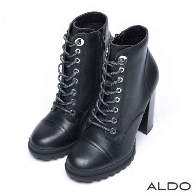 ALDO 真皮繫帶幾何車線高粗跟踝靴~尊爵黑色