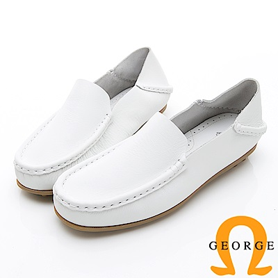 GEORGE 喬治-水洗系列 素面縫線懶人樂福鞋休閒鞋 女鞋-白