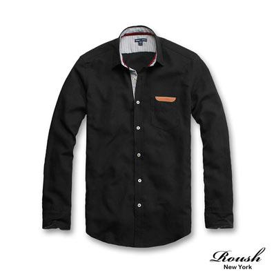 Roush-Roush-Company-皮標設計牛津素面長袖襯衫-4色