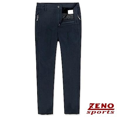 ZENO 極細刷毛彈性保暖長褲‧深藍M-3XL