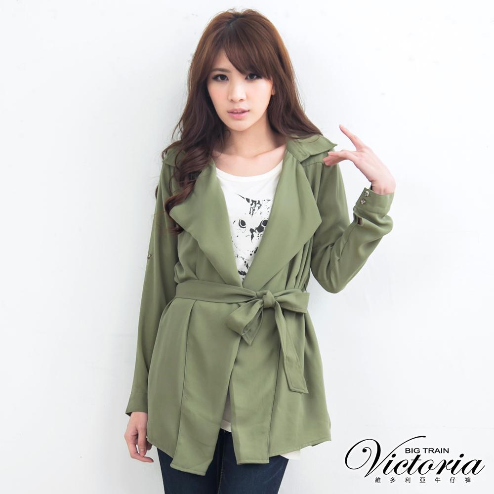Victoria 垂墜門襟長版外套-女-軍綠