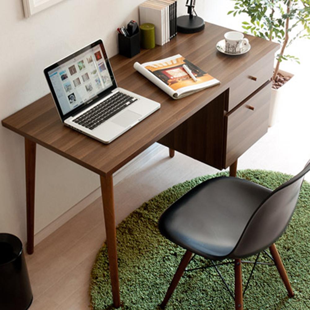 完美主義 雙抽工作桌/電腦桌/書桌(胡桃色)-120X55X71.5cm