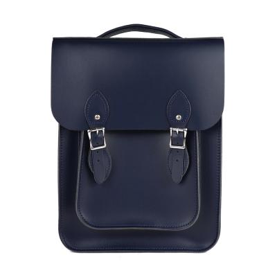 The Leather Satchel 英國原裝手工牛皮經典後揹包 手提包 湖泊藍