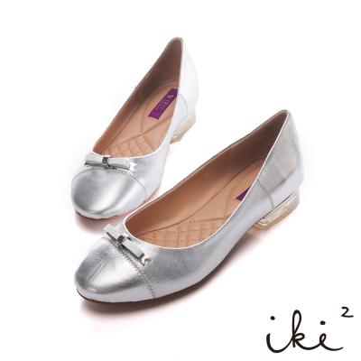 iki2優雅名媛 -羊皮蝴蝶結氣質娃娃鞋-銀