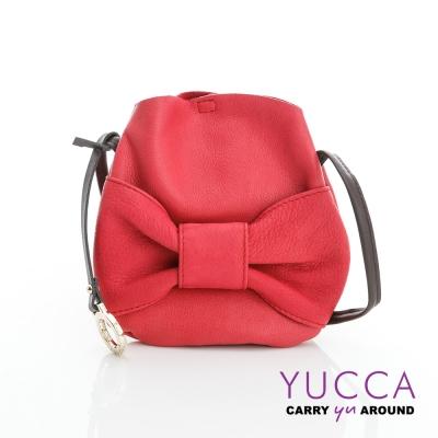 YUCCA - 甜美蝴蝶結牛皮小包-玫紅色-D013103