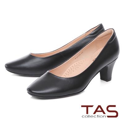 TAS經典素面羊皮高跟鞋-經典黑