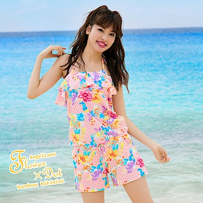 【AngelLuna日本泳裝】冰淇淋色圓點三件式比基尼泳衣-粉色連身褲