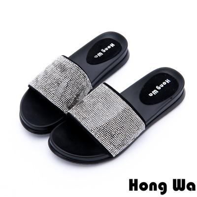 Hong Wa - 度假海洋風水鑽貼飾休閒拖鞋 - 黑