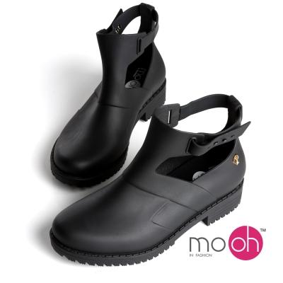 mo.oh愛雨天-歐美風皮帶扣鏤空短筒雨鞋雨靴-黑