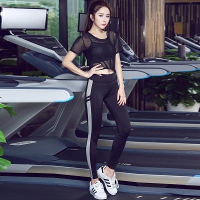 短袖透膚罩衫-背心-運動長褲套裝組-黑-SZ-sport