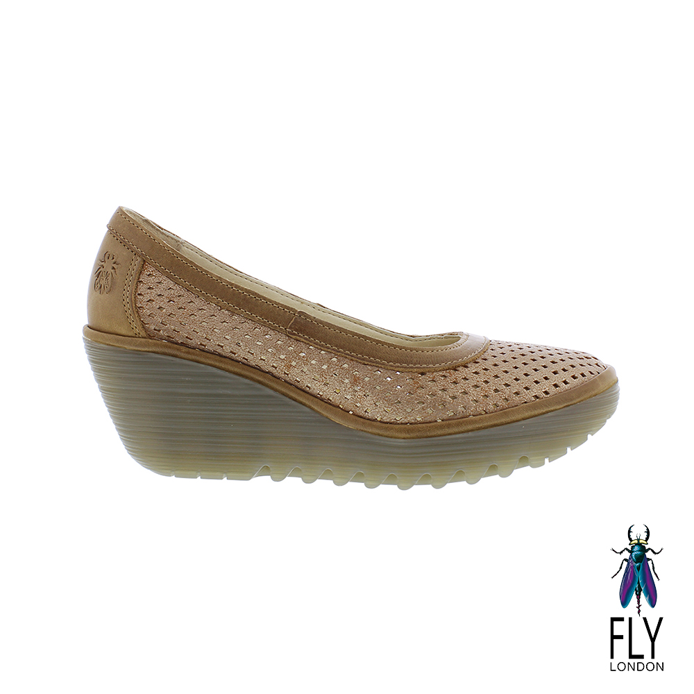 Fly London(女) 小心翼翼 牛皮網眼平高底楔型鞋- 膚棕