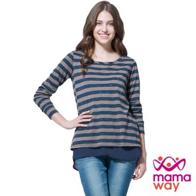 孕婦裝 哺乳衣 下擺剪接橫紋孕哺上衣(共二色) Mamaway