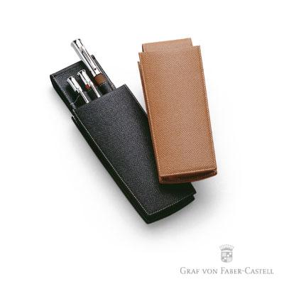 Graf von Faber-castell 上開式折疊皮製三支筆套