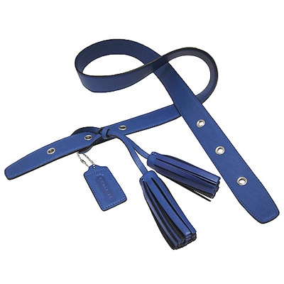 COACH-LEGACY-皮革流蘇背帶-藍