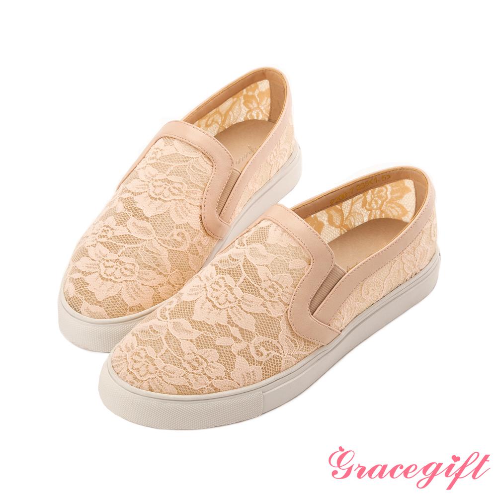 Grace gift-透膚蕾絲休閒鞋 粉