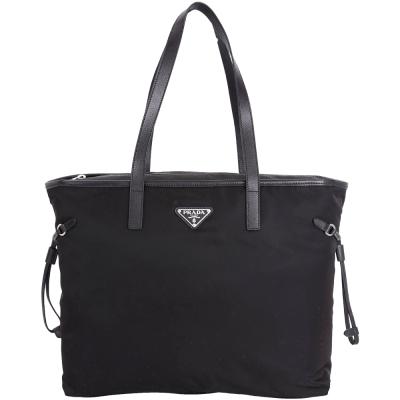 PRADA Vela 三角牌抽繩設計拉鍊尼龍托特包(黑色)