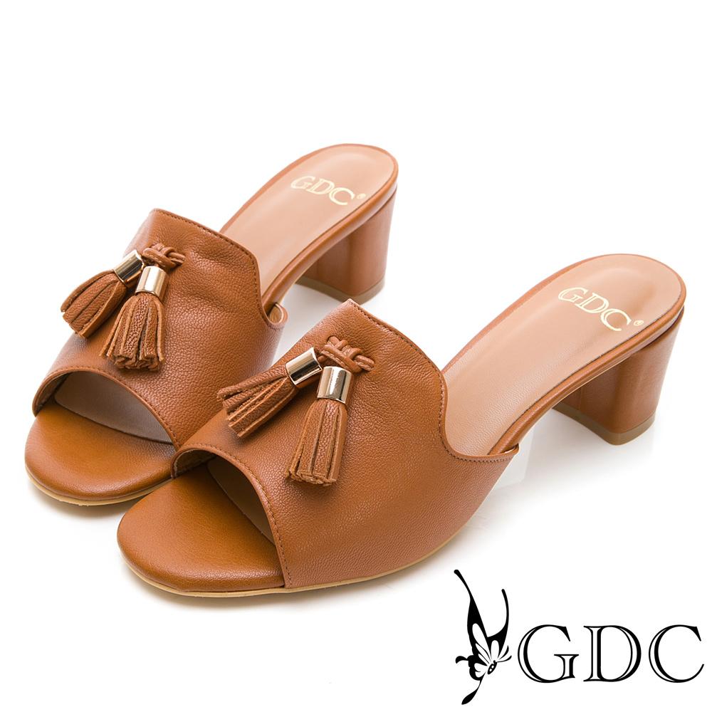 GDC-真皮流蘇小姐姐氣質低跟拖鞋-棕色
