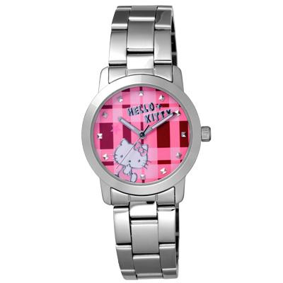Hello Kitty 童趣格子造型腕錶-粉紅X銀/35mm