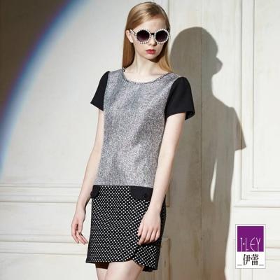 ILEY伊蕾-異素材鑽飾奢華洋裝-黑