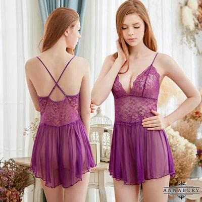 大尺碼Annabery魅惑紫色系柔紗連身睡衣褲裙 紫L-2L Annabery