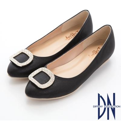 DN 典雅名媛 晶鑽方釦內增高平底鞋-黑