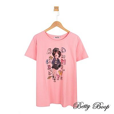 Betty Boop貝蒂 字母色塊印圖排汗柔棉上衣(共兩色)