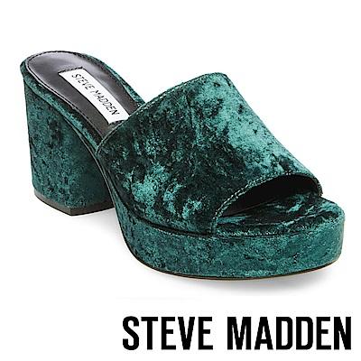 STEVE MADDEN-RELAX 絨布厚底粗跟涼拖鞋-綠色