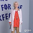 gozo 玩美連帽拼接外套式襯衫洋裝(二色)