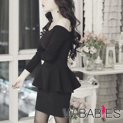 正韓  露肩荷葉擺上衣+窄裙洋裝組 (黑色)-W BABIES