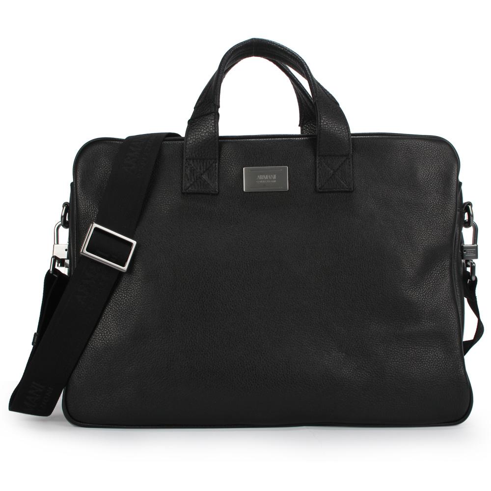 Armani Collezioni 經典素面皮革手提/斜背兩用公事包-黑色