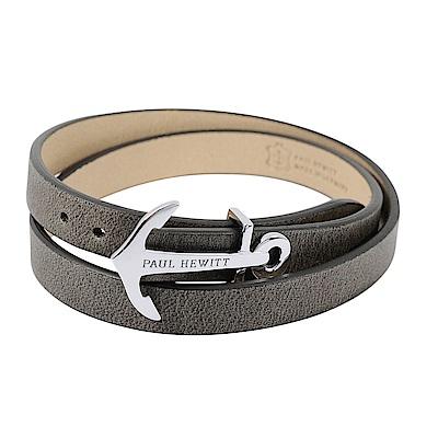 PAUL HEWITT 德國出品 NORTH BOUND 灰色皮革 銀色船錨 寬版手環