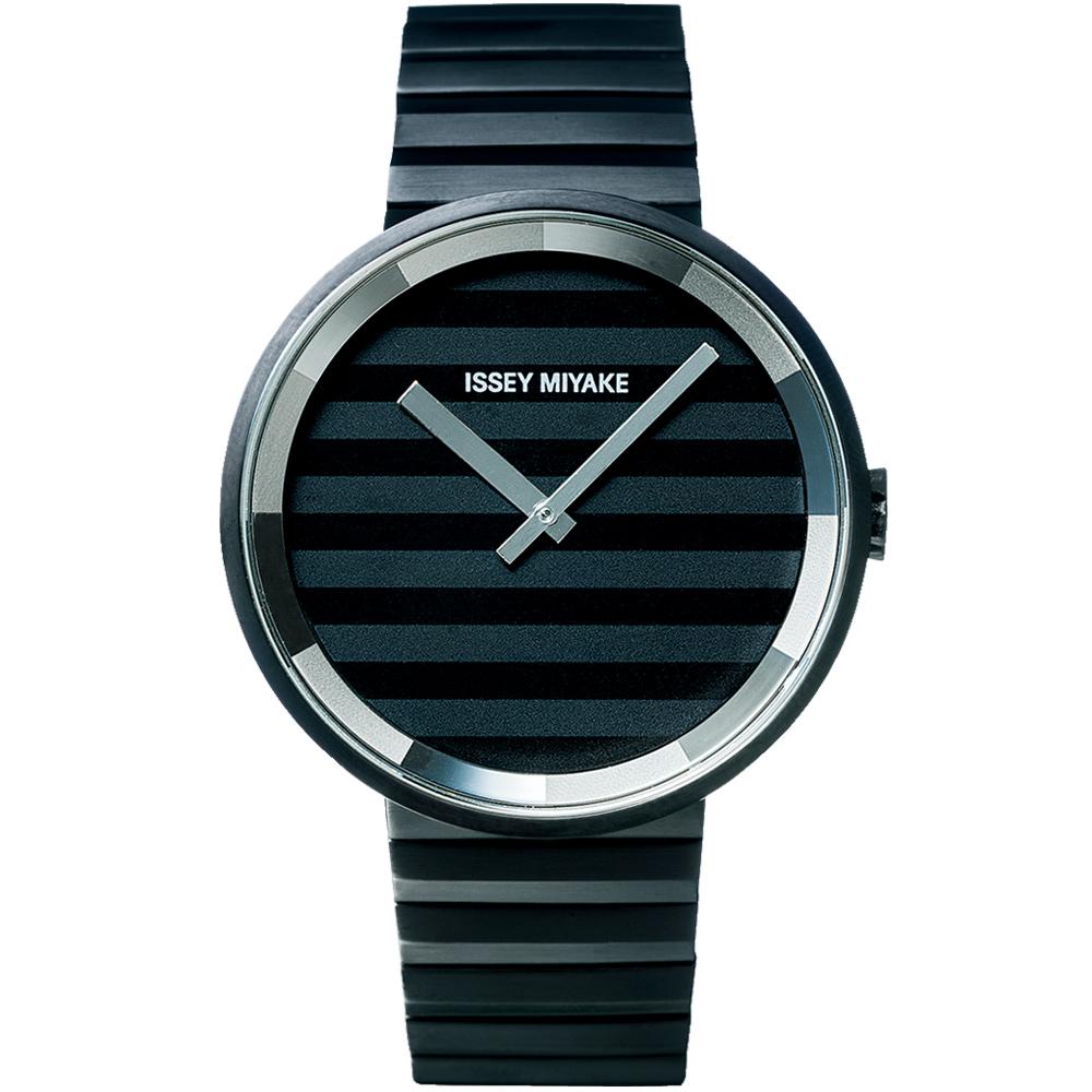 ISSEY MIYAKE 三宅一生PLEASE時裝系列腕錶SILAAA06Y-黑/40mm