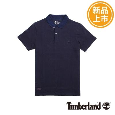 Timberland-男款深藍色翻領短袖Polo衫